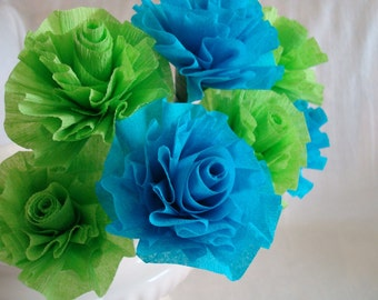 Seven Wedding Crepe Paper Roses...Apple Lime Green and Hot Turquoise...Art Deco Stylized Roses, Wedding Shower, Bridal Shower, Party
