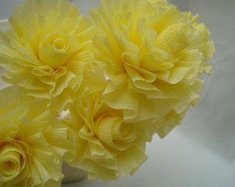 Seven Cream Lemon Yellow Wedding Crepe Paper Roses...Art Deco Stylized Flowers