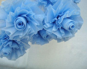 Paper Roses, Seven Cool Ice Baby Blue Wedding Crepe Paper Roses, Art Deco Stylized Flowers, Blue Roses, Crepe Paper Roses, Party Flowers