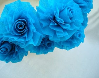 Paper Roses, Party Roses, Seven Hot Turquoise Wedding Crepe Paper Roses, Art Deco Stylized Flowers, Blue, Aqua, Turquoise, Party Favor