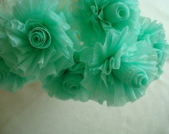 Pale Green Crepe Paper Roses, Lime Sherbet, 7 Pale Mint Green Wedding Crepe Paper Roses, Art Deco Stylized Flowers
