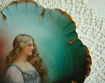 Antique Plate, Antique Figural Plate, SALE Classic Victorian, Victoria Austria Portrait Plate, Victorian Lady, Emerald Green, Scalloped