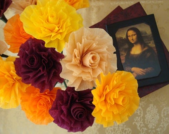 Autumn Crepe Paper Roses....Hues of orange, yellow, burgundy, and peach...Stylized Art Deco Flowers, Autumn, Fall, Thanksgiving, Halloween