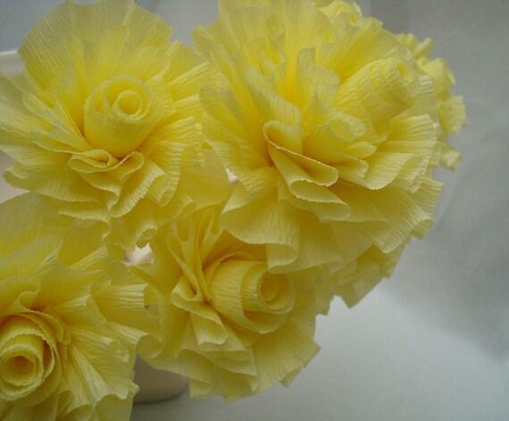 Seven Cream Lemon Yellow Wedding Crepe Paper Roses...Art Deco Stylized Flowers