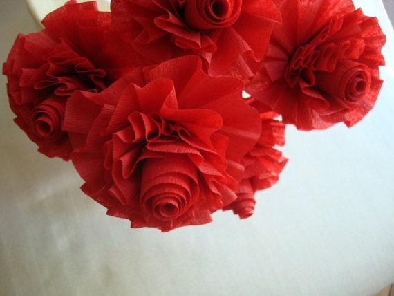 Red Paper Roses...13 Wedding Crepe Paper Roses in Hot Red..Art Deco Stylized Flowers, Red, Crepe Paper Roses, Baker's Dozen, Wedding Roses