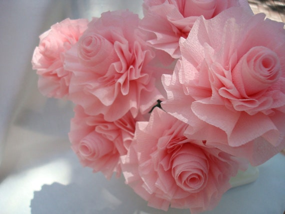 Ready to Ship...Wedding Crepe Paper Roses Blush Baby Pink... 7 Art Deco Stylized Flowers