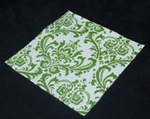 Scrap Fabric - Four and Five inch Premier Prints Damask Squares Green and White
