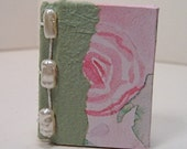 Brooch \/ Pin Miniature Book Pink Cottage Cabbage Rose with Pearl Beads - Mini Book
