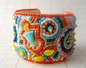 REDUCED Paisley Bead Embroidery Bracelet Cuff in Orange and Teal