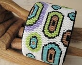 REDUCED Wide Bead Weaving Cuff Bracelet Colorful Bubbles