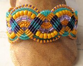 Mustard, Teal and Purple Beaded Macrame Bracelet Quirky Summer Fashion