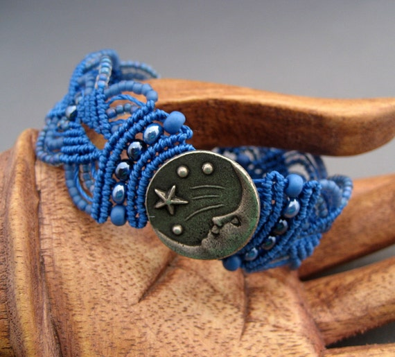 Moon and Stars Micro-Macrame Bracelet in Brilliant Blue