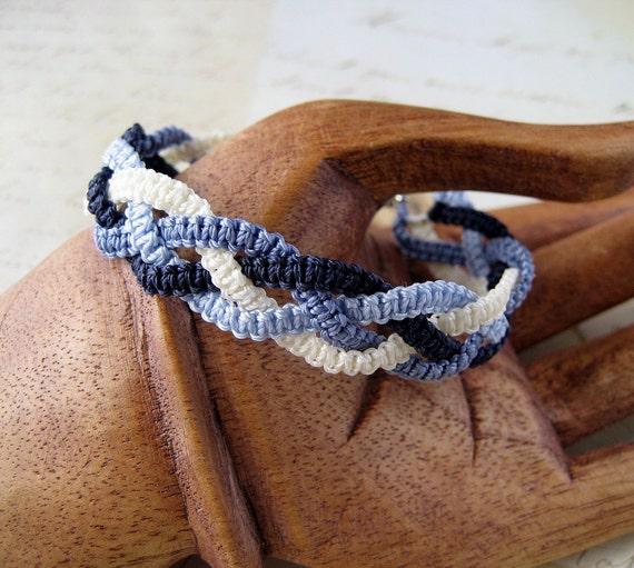 Blue Denim Jeans Macrame Bracelet Braid in Shades of Blue