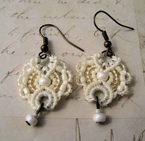 Ecru Lace Beaded Macrame Earrings MicroMacrame