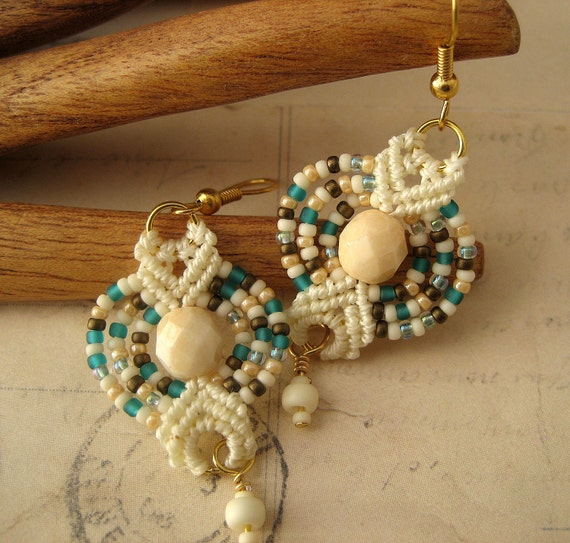 Beachy Beaded Macrame Earrings in Aqua and Tan