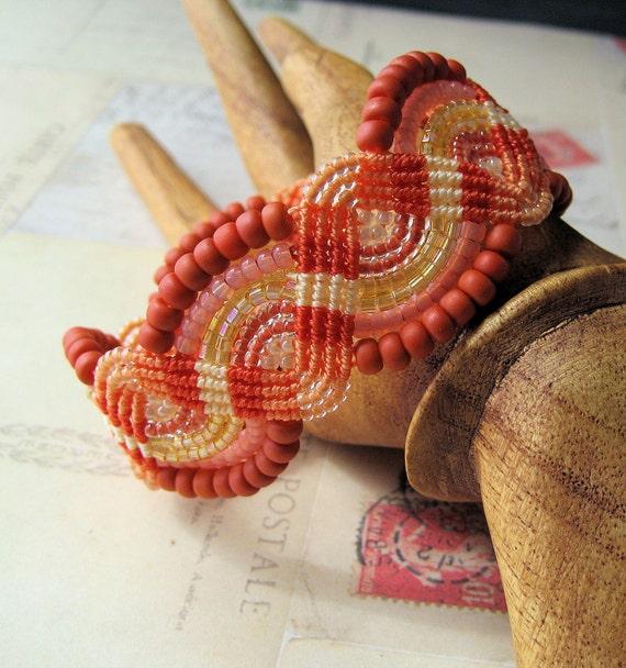 Juicy Shades of Mango Beaded Macrame Bracelet Quirky Summer Fashion