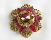 Vintage Red and Pink Rivoli and Rhinestone Filigree Layered Brooch or Pin