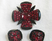 ON SALE Vintage Brooch or Pendant and Earrings Red and Black Pave Rhinestone Maltese Cross  Demi Parure Set signed CAPRI
