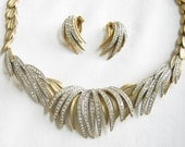 RESERVED for Donna Howard Vintage Brushed Gold Tone and Clear Rhinestones BIB Necklace and Earrings Demi Parure Set Palm Frond Design