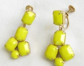 Vintage Yellow Opaque Rhinestone Dangle Earrings signed WEISS