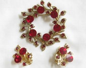Vintage Red Flat Topped Rhinestones Circle Wreath Brooch or Pin and clip Earrings Demi Parure Set