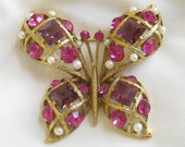 Vintage signed EISENBERG ICE Purple and Pink Rhinestone and Faux Pearl Butterfly Brooch