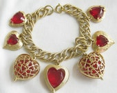 Vintage Gold Tone Red Glass and Rhinestones Heart Charm Bracelet