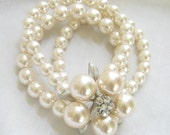 Vintage Bride Wedding 3 Strand Faux Pearl Expansion Bracelet with Large Rhinestone Flower Centerpiece