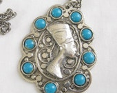 Vintage Nefertiti Cameo and Faux Turquoise Pendant Necklace