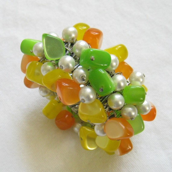 Vintage CHA Cha Expansion Bracelet with Faux Pearls and Fruity Orange, Lemon and Lime Lucite Beads