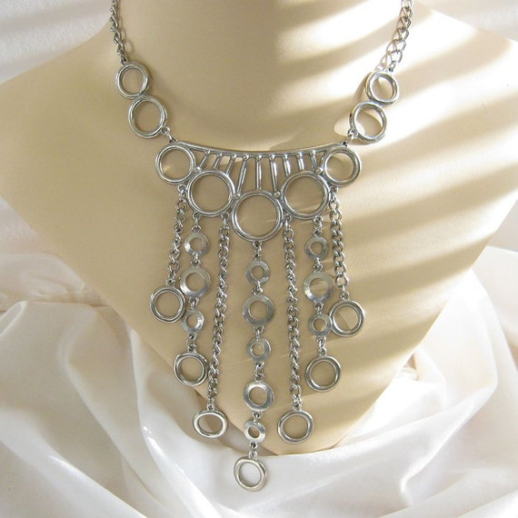Vintage Silver Tone Modernist Chains and Circles Dangle BIB Necklace