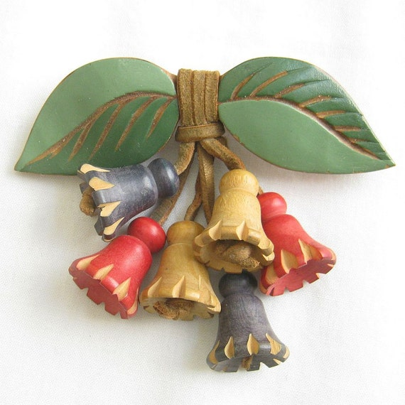 Vintage Arts and Crafts Brooch Wood Leaf and Leather Attached Dangle Flowers