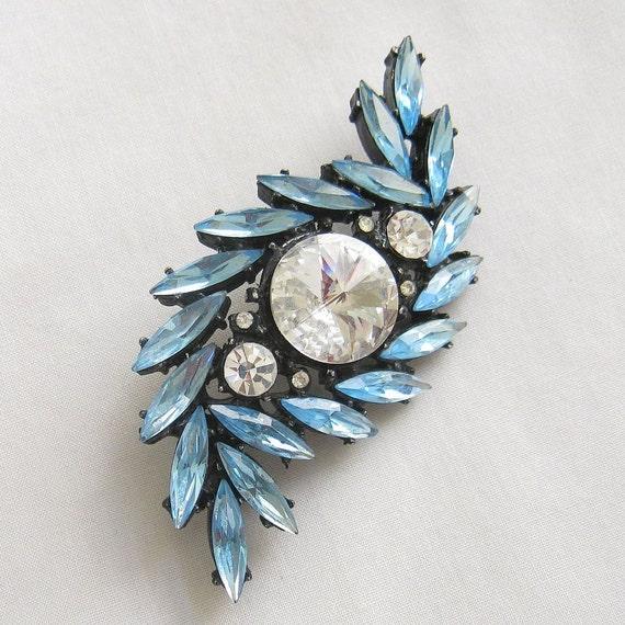 Vintage Blue Rhinestones with Clear Rivoli Rhinestone Japanned Brooch