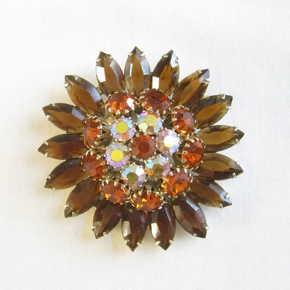 Vintage Verified DeLizza and Elster, D&E, JULIANA Topaz, Amber, Orange and Aurora Borealis Rhinestone Flower Brooch or Pin