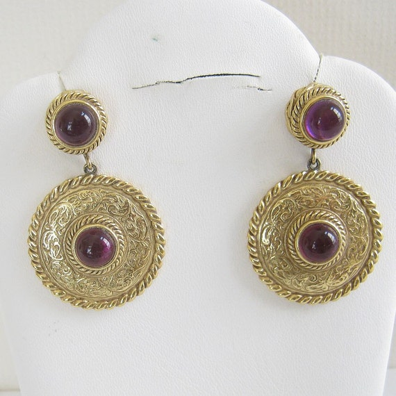 Vintage Retro Gold Tone with Amethyst Purple Lucite Cabochon Dangle Earrings