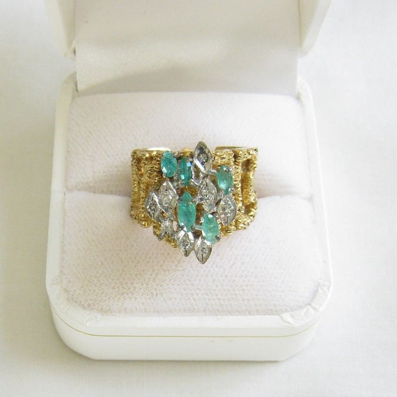 Vintage High Domed Blue and Clear Rhinestones Ring