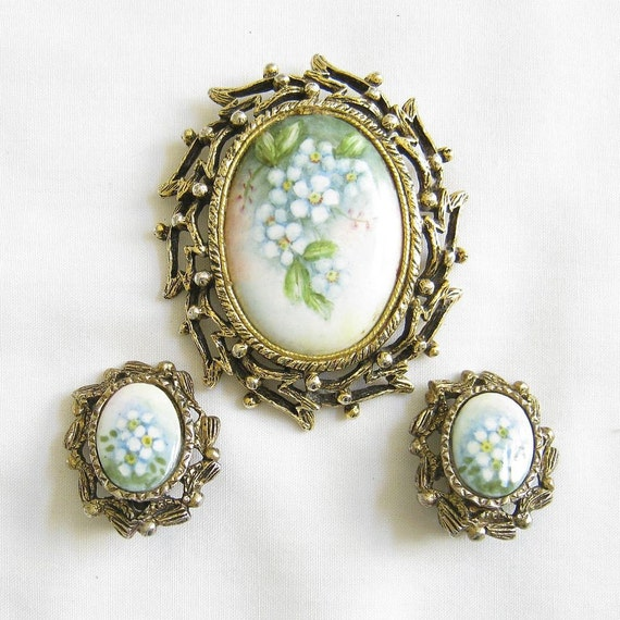 Vintage Floral Cameo Brooch or Pin Ceramic or Porcelain Forget Me Not and clip Earrings Demi Parure Set