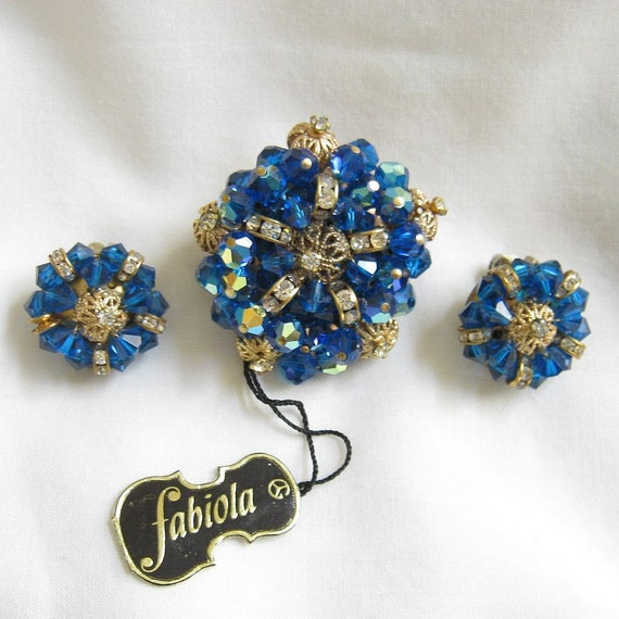 Vintage Brooch and Earrings RARE Royal Blue and Aurora Borealis Crystal and Clear Rhinestone Rondells Demi Parure Signed FABIOLA