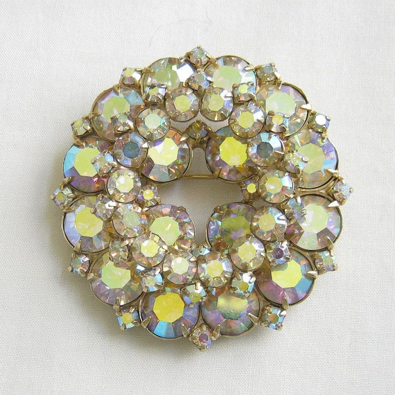 Vintage JULIANA Aurora Borealis Rhinestone Tiered Circle Brooch, by DeLizza and Elster, D&E