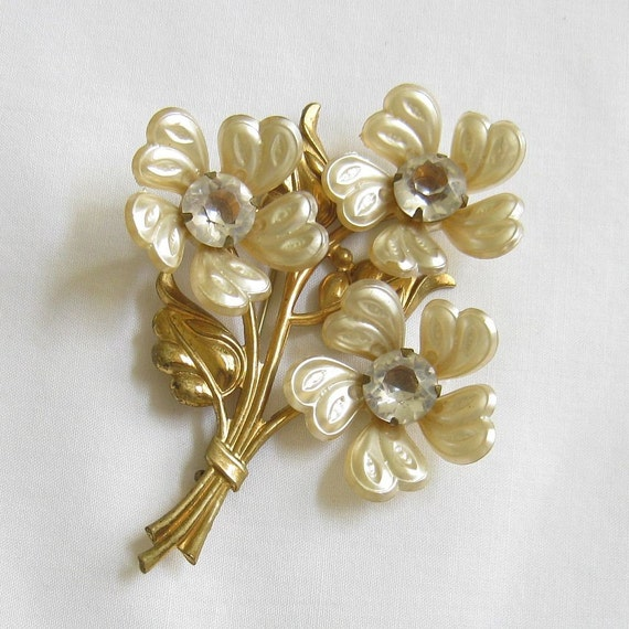Vintage Celluloid and Clear Rhinestone Layered Flower Brooch or Pin