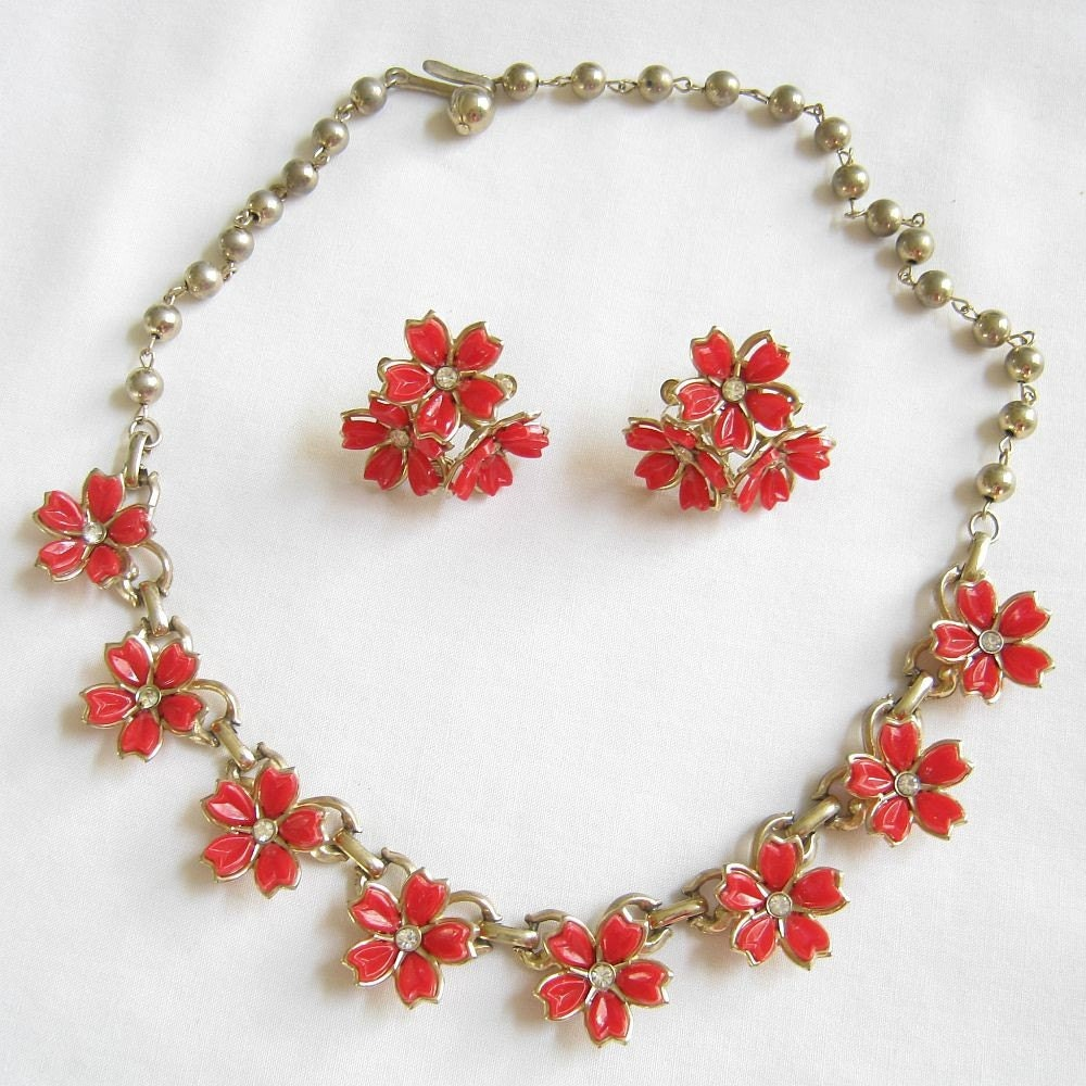 Vintage Red Plastic And Clear Rhinestone Flower Necklace And