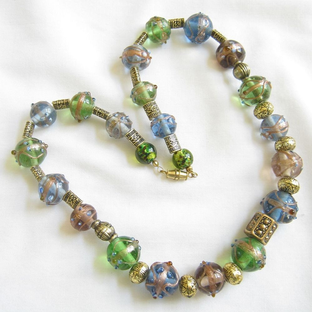 vintage glass wedding cake bead necklace