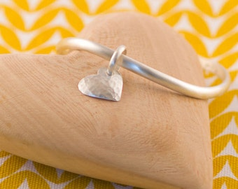 Sterling Silver Petite Heart Bangle