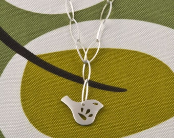 Sterling Silver Chain Necklace with Petite Mod Jay Bird