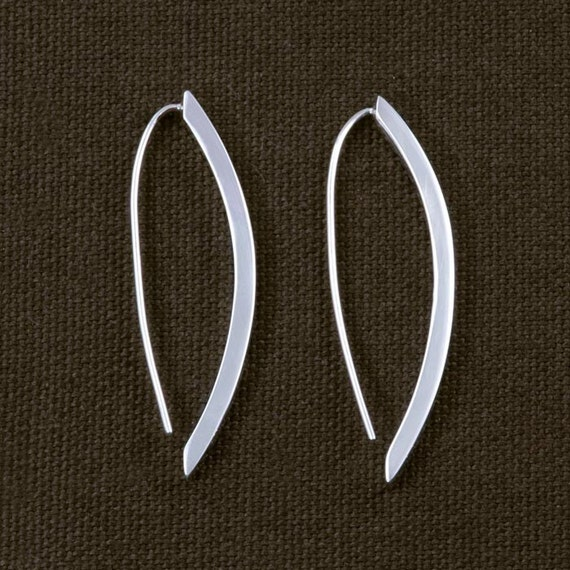 Polished Square Edged Pod Drop Earrings ERD144