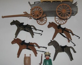 Playmobil Covered Wagon And Horses 3243 Vintage 1980