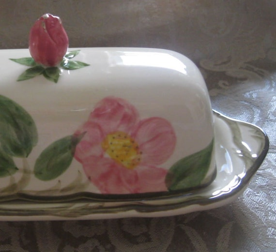 Franciscan Desert Rose butter serving dish with lid