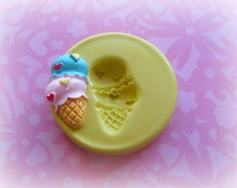 Ice Cream Cone Mold Deco Sweets Kawaii Food Silicone Flexible Clay Resin Mould