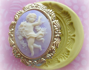 Cherub Mold Christmas Frame Silicone Flexible Clay Resin Mould