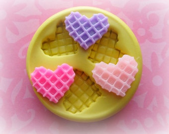 Kawaii Heart Waffle Mold Deco Cake Moulds Sweets Kawaii Food Silicone Flexible Clay Resin Mould